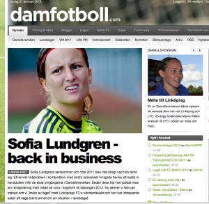 Damfotboll.coms nyhet om Sofia Lundgren