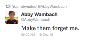 Abby Wambachs sista tweet.