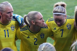 Stina Blackstenius, Jonna Andersson och Lisa Dahlkvist