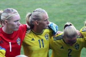 Hedvig Lindahl, Stina Blackstenius och Jonna Andersson.