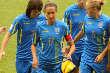 Yana Kalinina (7), Daryna Apanaschenko (17) och Veronika Andrukhiv (5).